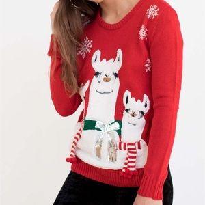 Fuzzy Llama Ugly Christmas Sweater